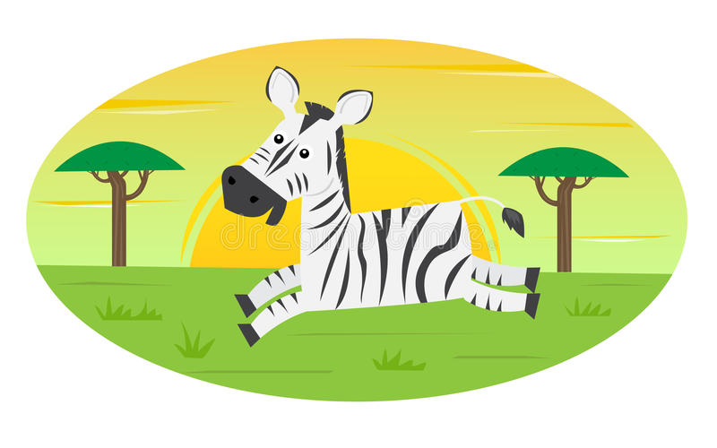 Running Zebra. Cute cartoon zebra is running in the wild. With stylized trees and a sun in the background. Eps10 royalty free illustration