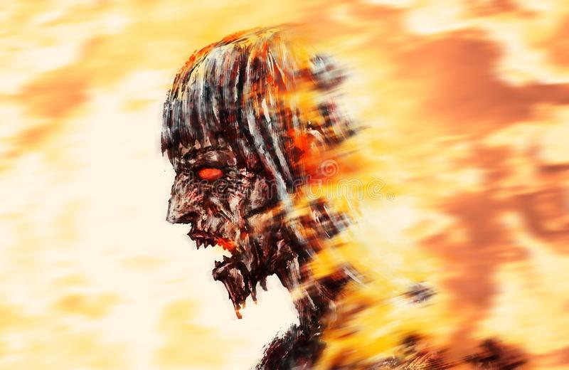 Running zombie head in flame. Genre of horror. Scary monster profile vector illustration