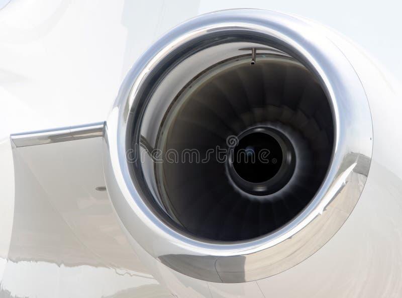 Runnning jetmotorcloseup på ett privat flygplan - Bombardier arkivfoton