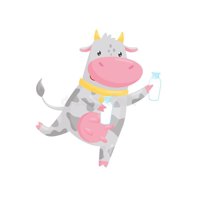 Runnung precioso de la vaca con la botella de cristal de la leche, ejemplo del vector del personaje de dibujos animados del anima ilustración del vector