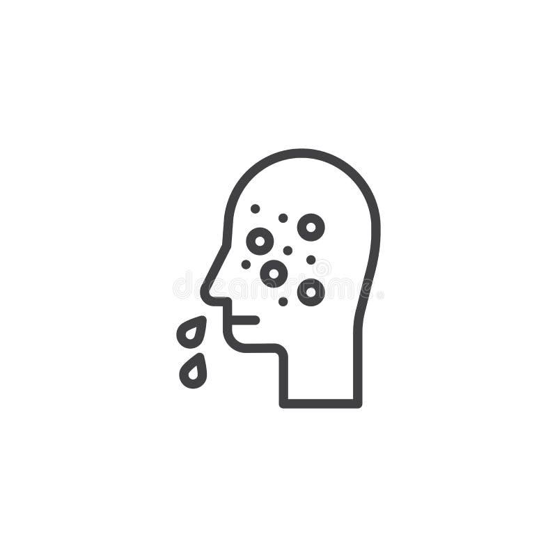 Runny nose line icon stock illustration