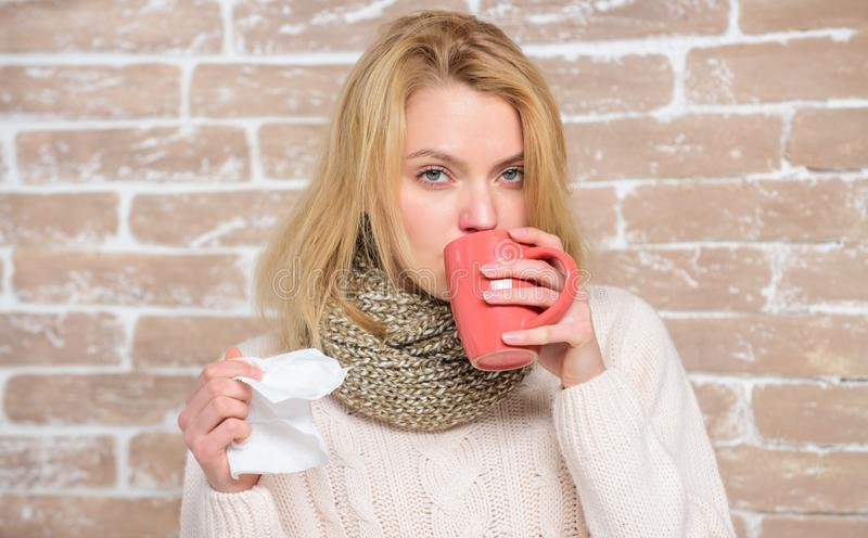Runny nose and other symptoms of cold. Cold and flu remedies. Drink more liquid get rid of cold. Drinking plenty fluid. Important for ensuring speedy recovery stock photo