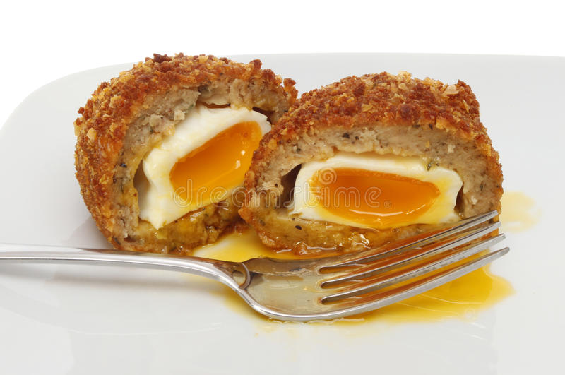 Download Runny Scotch egg stock photo. Image of food, plate, sausage - 28048608
