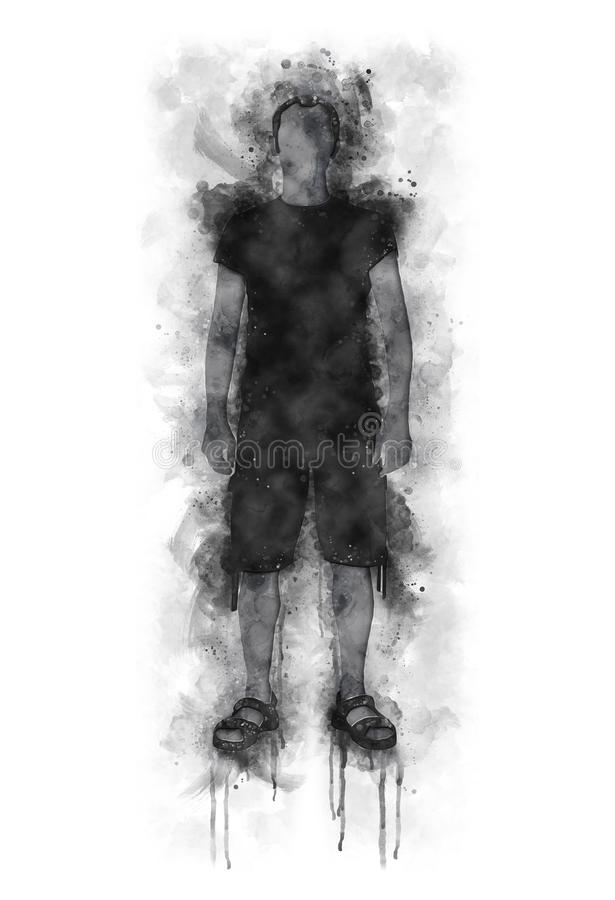 Runny Watercolor Illustration of a Man silhouette with shorts and t-shirts. Runny and Splashed Watercolor Illustration of a Man silhouette with shorts and t royalty free illustration