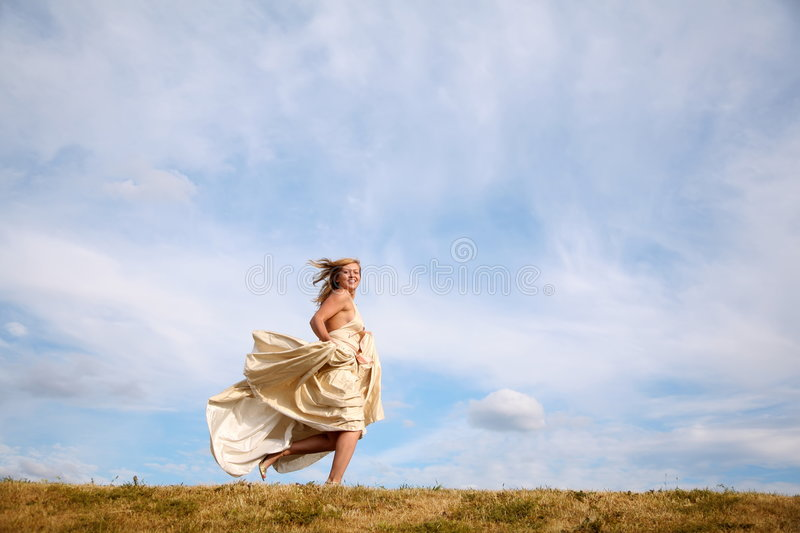 Download Runs Along The Meadow Stock Photo - Image: 2728460