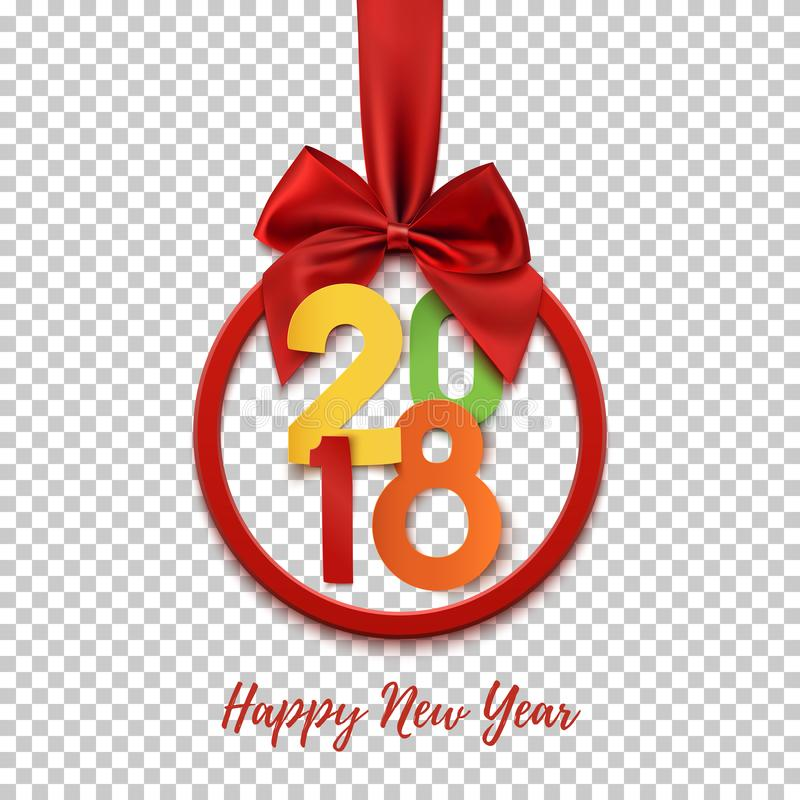 Runt baner för lyckligt nytt år 2018 med det röda bandet och pilbågen royaltyfri illustrationer