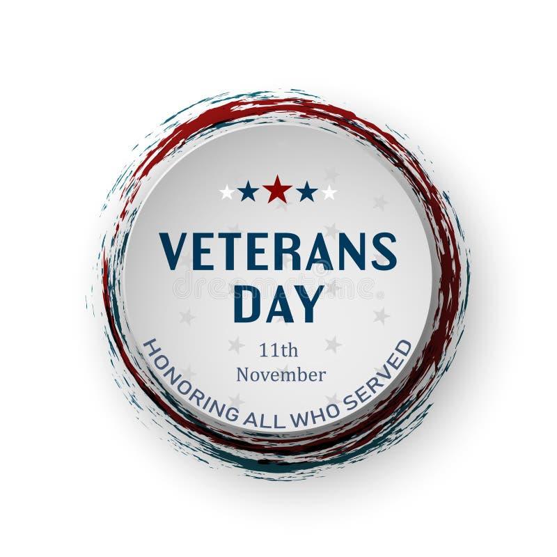 Runt baner för USA veterandag på vit bakgrund Hedra alla som tjänade som också vektor för coreldrawillustration stock illustrationer