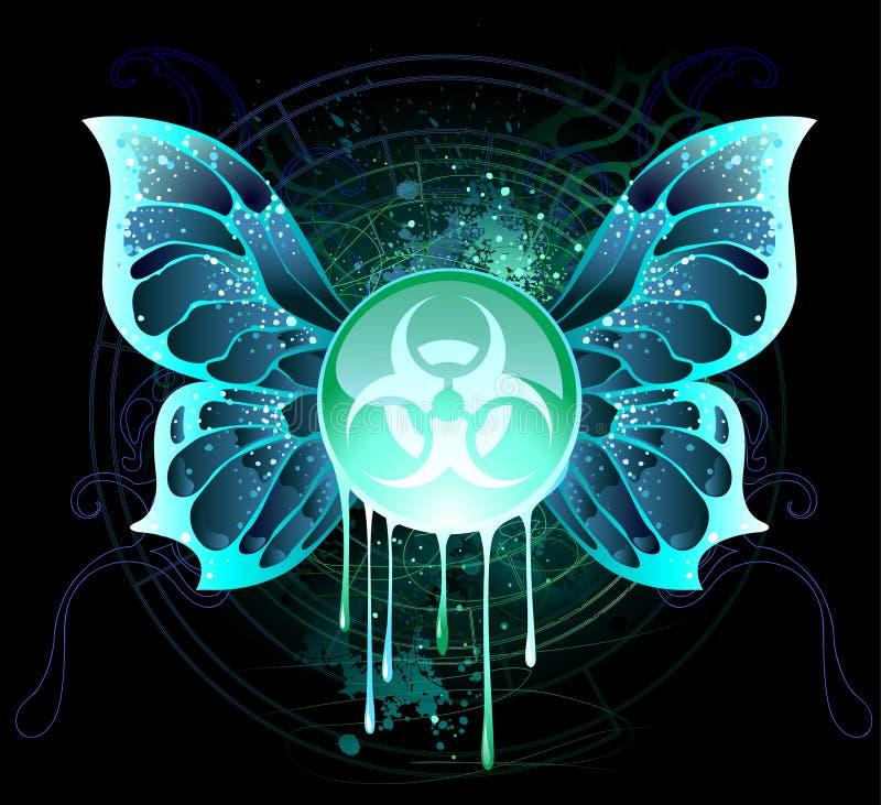 Runt baner med ett symbol av biologisk fara royaltyfri illustrationer