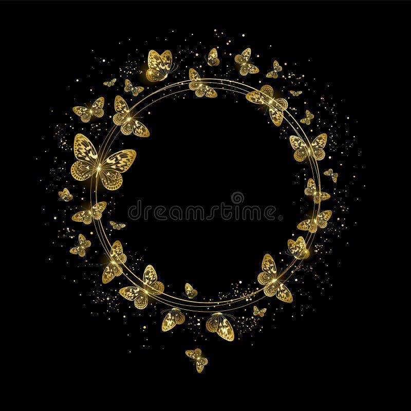 Runt baner med guld- fjärilar vektor illustrationer