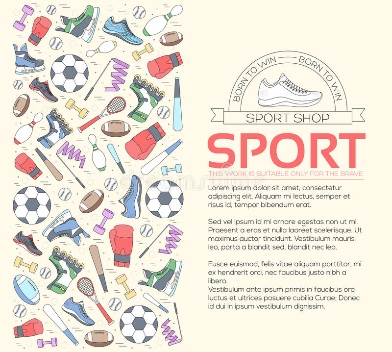 Runt begrepp av bakgrund för sportutrustning hjälpmedel för livstil med idrottshallapparaten, utrustning och objekt utbildning vektor illustrationer
