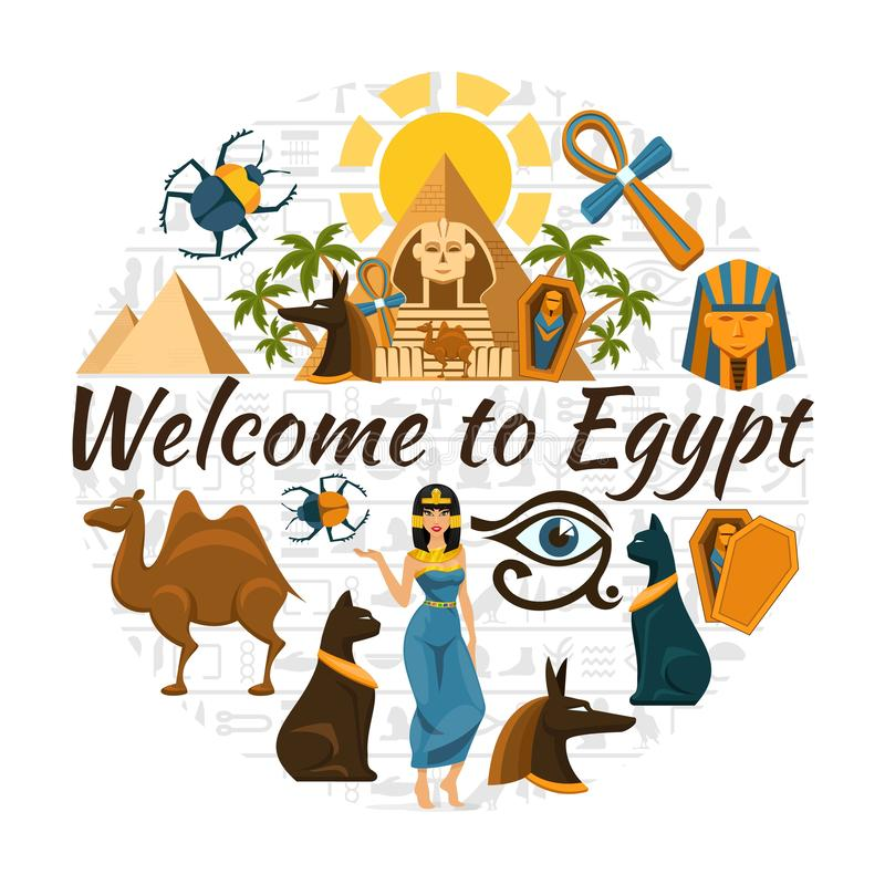 Runt begrepp för plant Egypten lopp vektor illustrationer