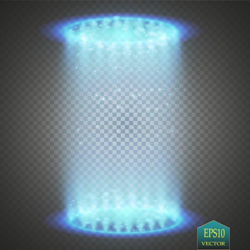 Runt blåttglöd rays nattplats med gnistor på genomskinlig bakgrund Tomt podium för ljus effekt Diskoklubbadans stock illustrationer