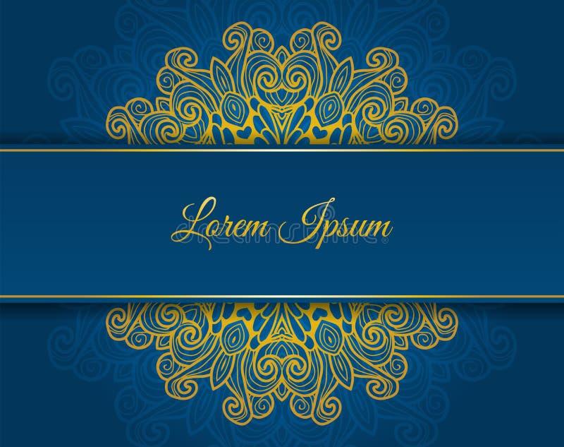 Runt blom- blått inbjudankort vektor illustrationer