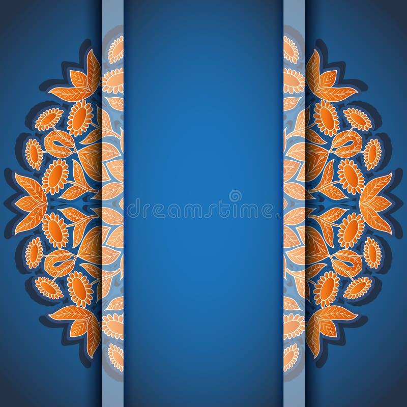 Runt blom- kort för apelsinblåttinbjudan royaltyfri illustrationer