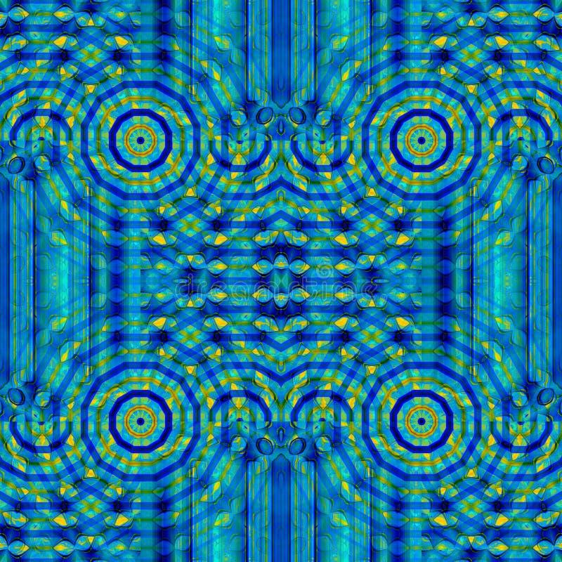 Runt dekorativt modellmörker för stamgäst - gult ljus för blå turkos - centrerad gräsplan vektor illustrationer