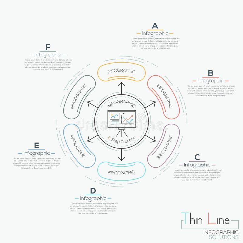 Runt diagram med 6 förbindelsebeståndsdelar royaltyfri illustrationer