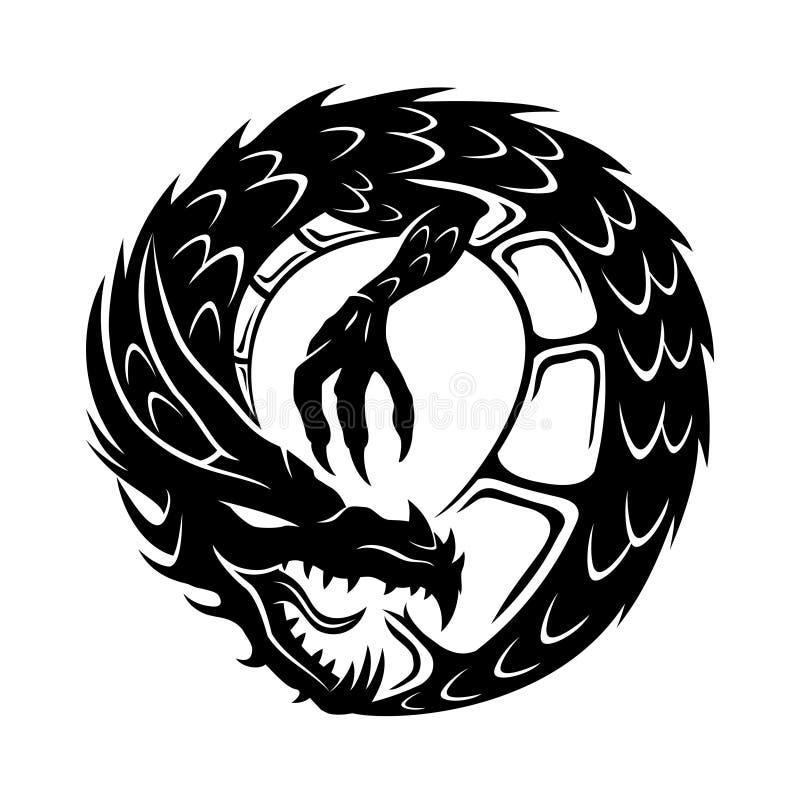 Runt draketecken vektor illustrationer