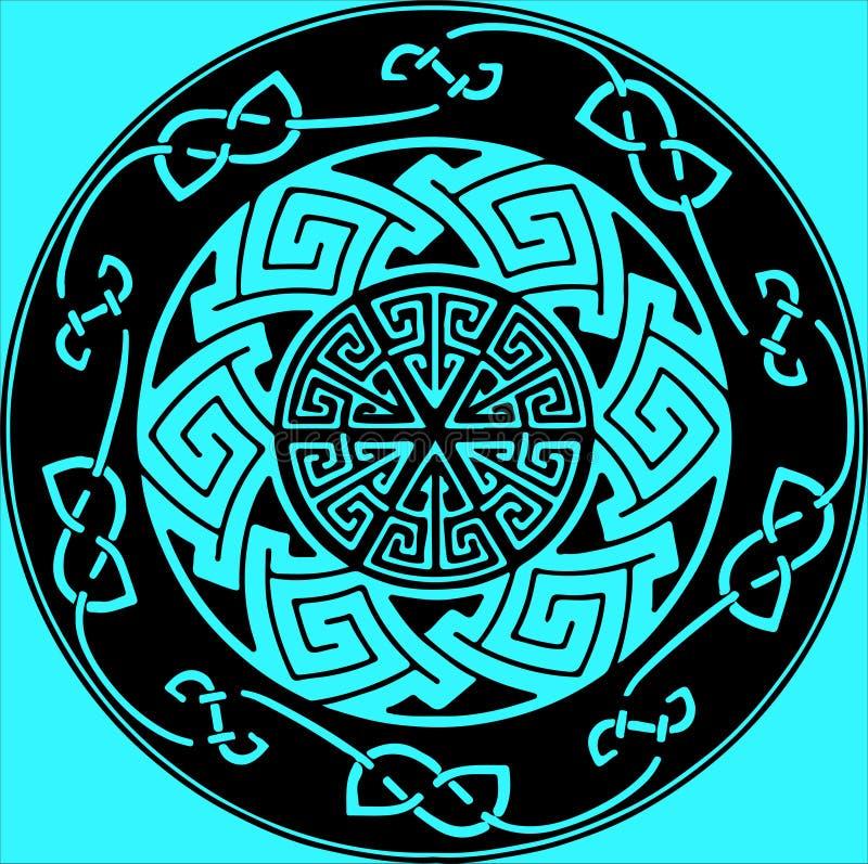 Runt emblem för ovanlig abstraktion med olika geometriska former royaltyfri illustrationer