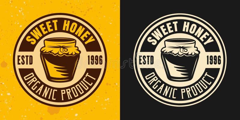 Runt emblem för söt kulör stilvektor för honung två royaltyfri illustrationer