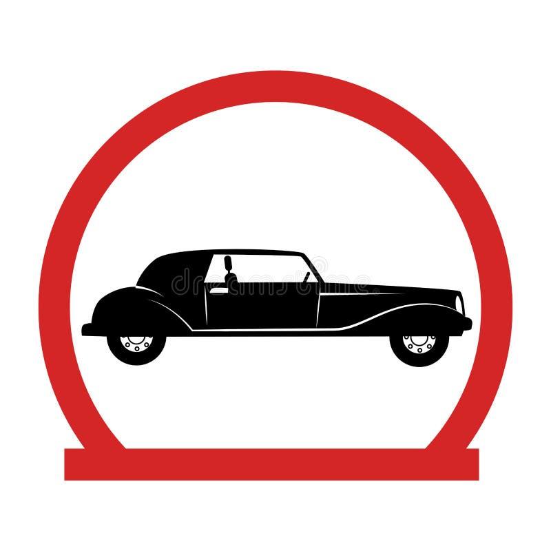 Runt emblem med den klassiska bilen stock illustrationer