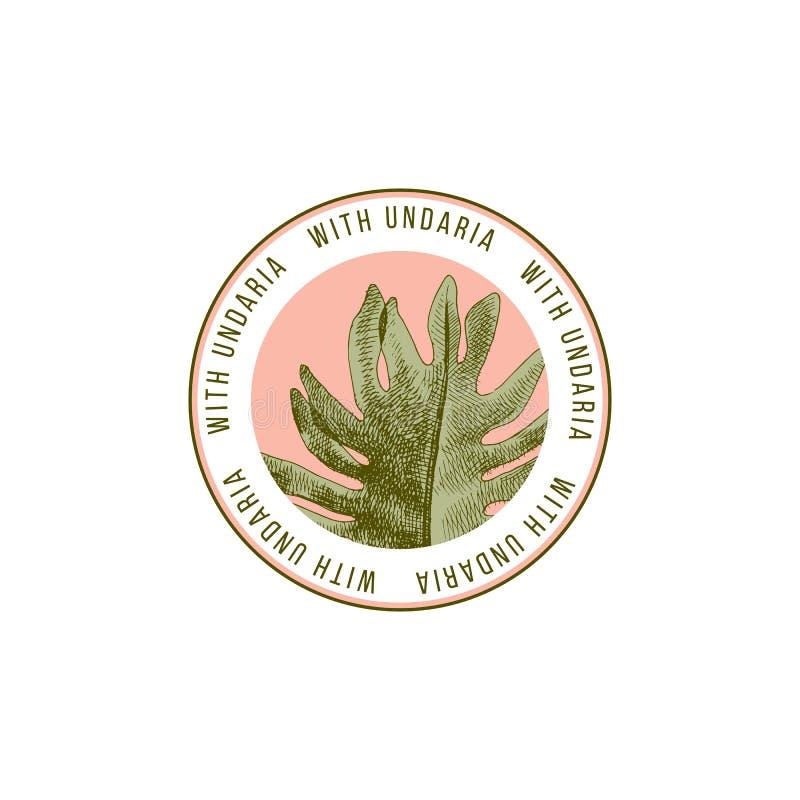 Runt emblem med handen utdragen Wakame eller Undaria Pinnatifida alg stock illustrationer