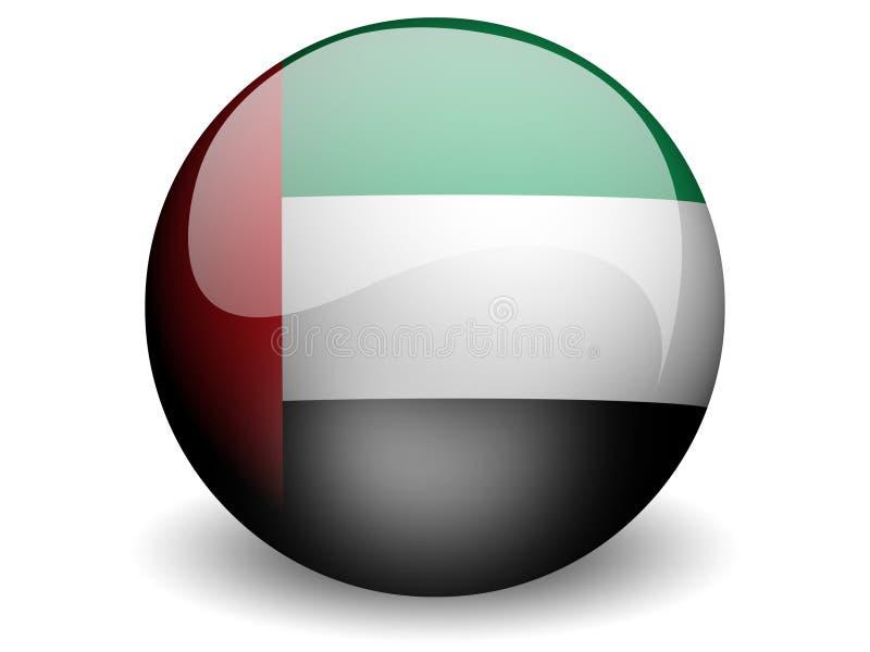 runt enigt för arabisk emiratesflagga vektor illustrationer
