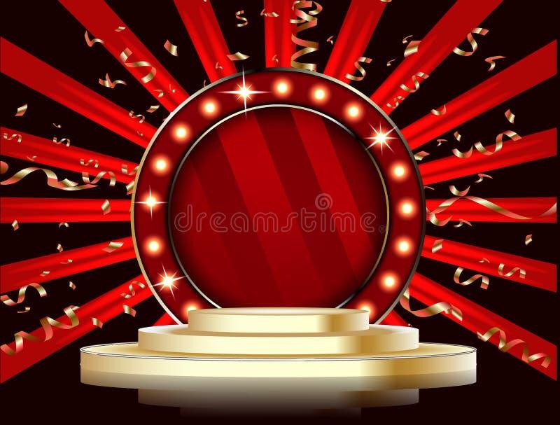 Runt etapppodium med ljus Festlig podiumplatsceremoni royaltyfri illustrationer