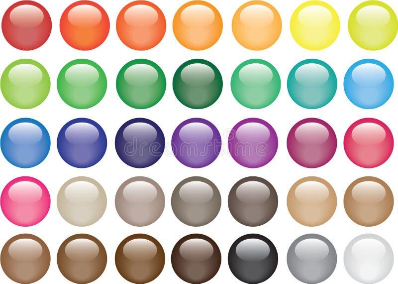 runt exponeringsglas för 35 knappar royaltyfri illustrationer