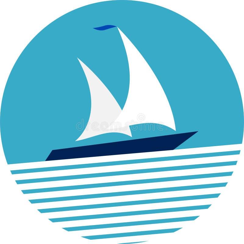 Runt fartyg för ramseglingyacht på havet royaltyfri foto