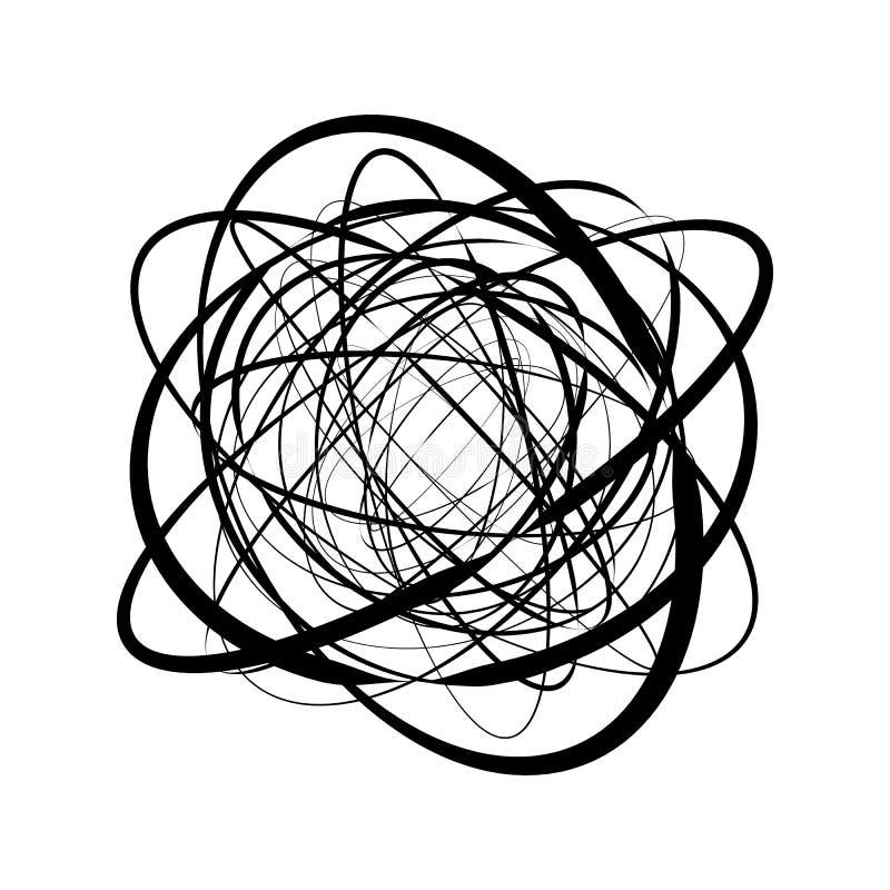 Runt geometriskt motiv Abstrakt gråtonop-konst beståndsdel vektor illustrationer