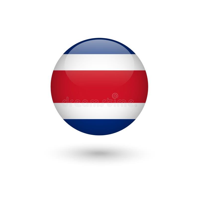 Runt glansigt för Costa Rica flagga vektor illustrationer