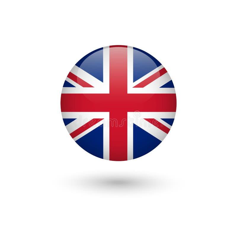 Runt glansigt f?r F?renade kungariket flagga royaltyfri illustrationer