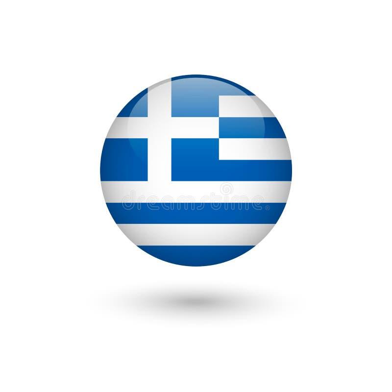 Runt glansigt f?r Grekland flagga royaltyfri illustrationer