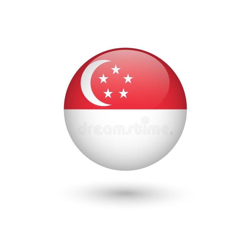 Runt glansigt för Singapore flagga stock illustrationer