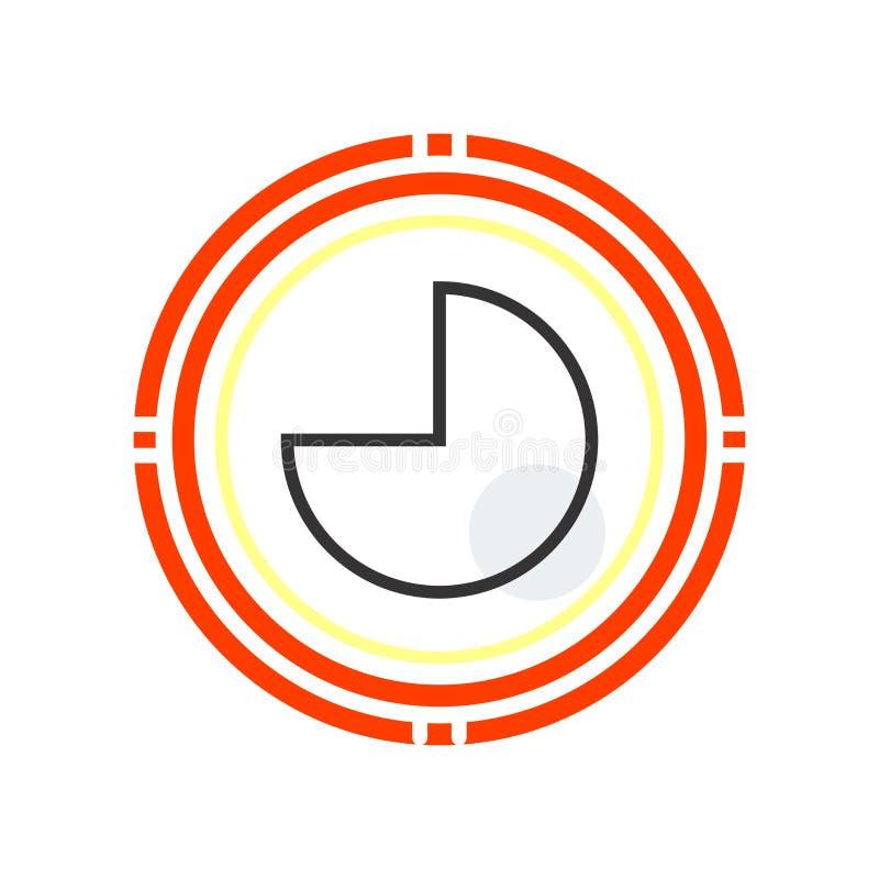 Runt grafiskt symbolsvektortecken och symbol som isoleras på vit bakgrund, runt grafiskt logobegrepp stock illustrationer