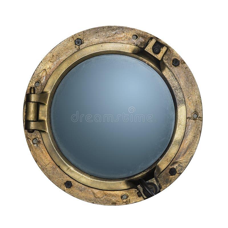 Runt guld- fartyghyttventilfönster som isoleras på vit royaltyfria foton