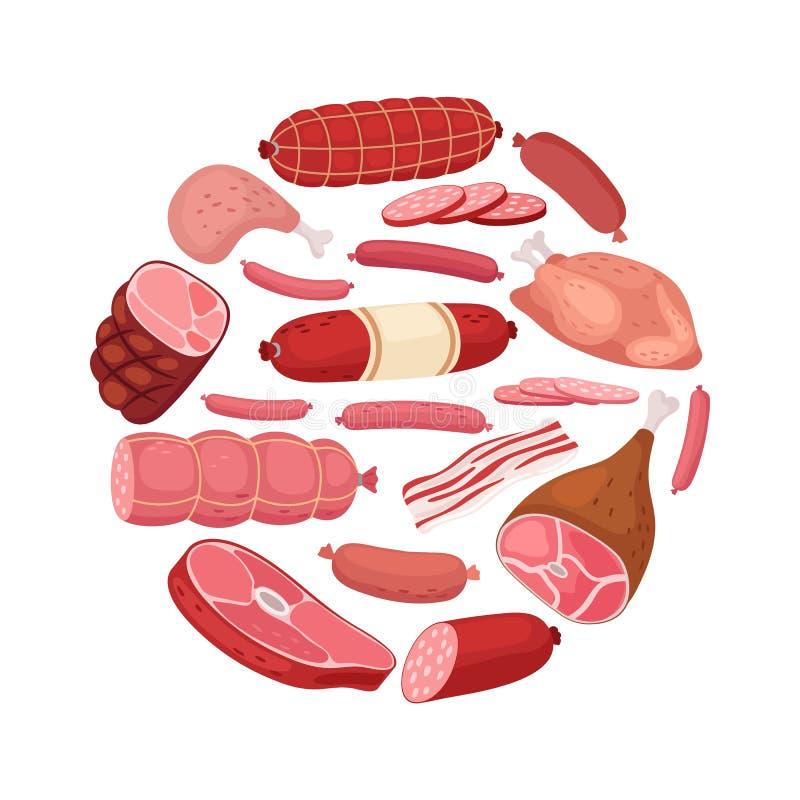 Runt köttbaner Vektorhöna, salami, korv och nytt kött som isoleras på vit bakgrund stock illustrationer