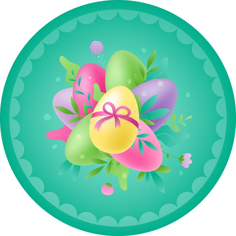 Runt kort för påsk med ägg stock illustrationer