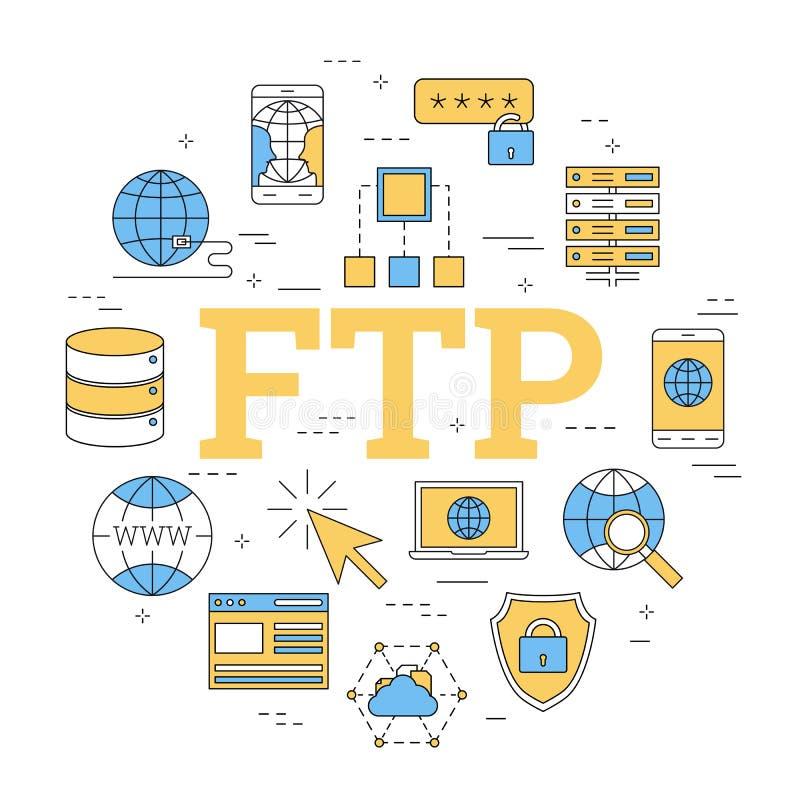 Runt linjärt begrepp av FTP vektor illustrationer