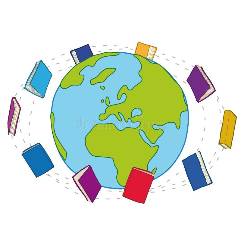 runt om bokvärlden royaltyfri illustrationer
