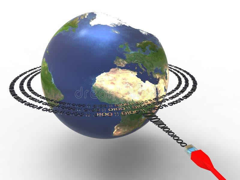 runt om data jorda en kontakt planet vektor illustrationer