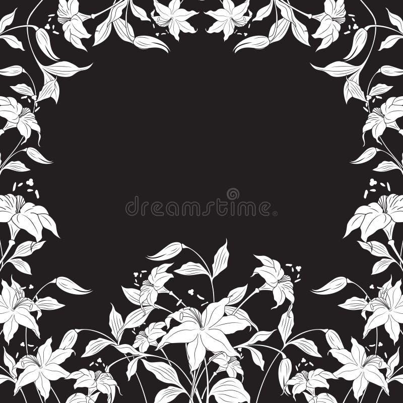 runt om dekorativa blommor inramnin illustrationvektorn royaltyfri illustrationer