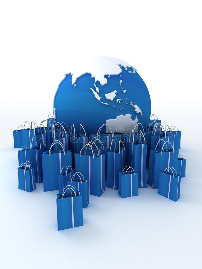 runt om den blåa shoppingvärlden stock illustrationer