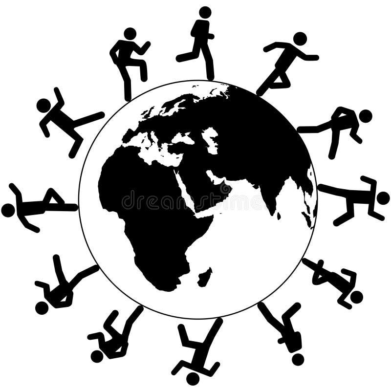 runt om den globala världen för folkkörningssymbol vektor illustrationer