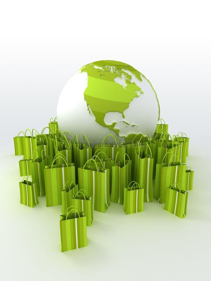 runt om den gröna shoppingvärlden stock illustrationer