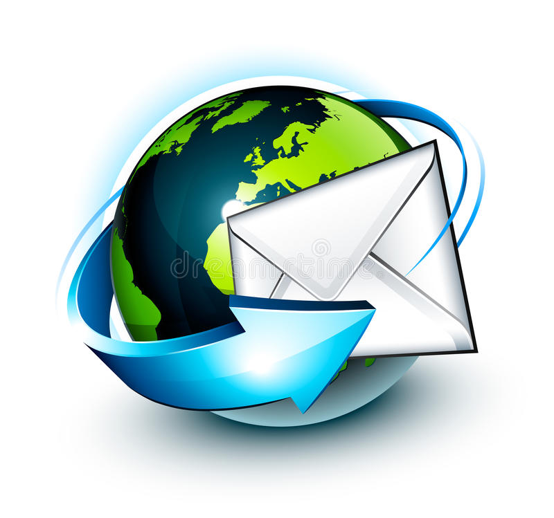 runt om e-postjordklotvärlden vektor illustrationer