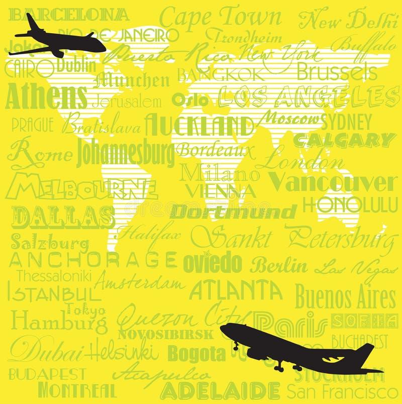 runt om flygvärlden royaltyfri illustrationer
