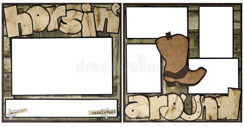 runt om horsing scrapbookmall för ram stock illustrationer