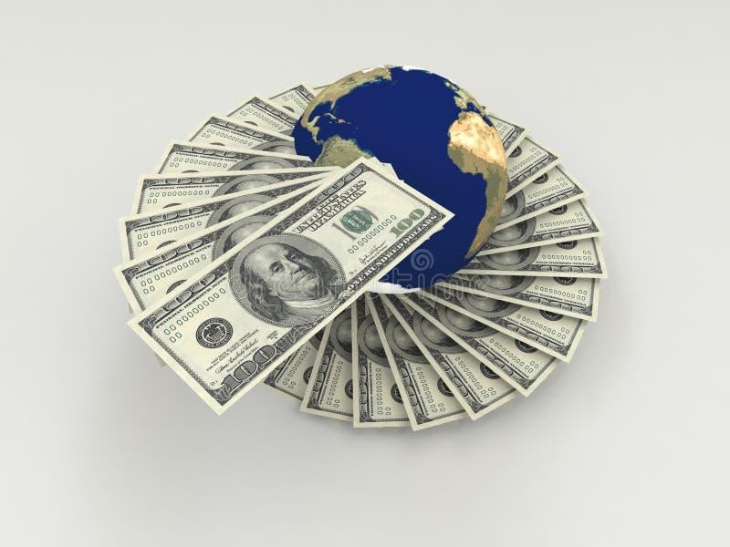 runt om pengarvärlden royaltyfri illustrationer