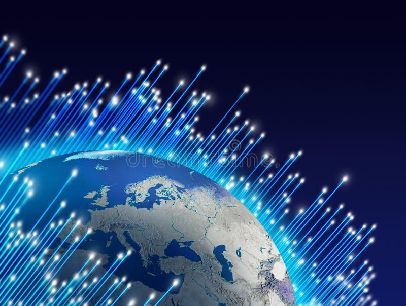 runt om planet för fiberoptik stock illustrationer